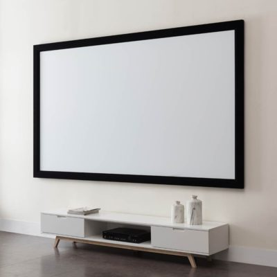 """WHSCR092FIXED Fixed Frame Projector Screen Side 400x400 - 92"""" fixed frame screen  (16:9), flocked borders, gain 1.1"""